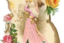 vrou tussen rose