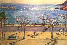 Pintura: Josep Amat. Catalan painter / Pintor catalán (1901-1991) impresionista-postimpresionista. Exposición 1: el paseo marítimo de Sant Feliu de Guíxols en distintas épocas del año. Esposición 2: varios. Sant Feliu-2016.