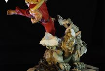 Battle of the Brothers – Ken 1:6 scale Diorama Statue / This is a statue of Ken Masters (ケン) that is part of our Battle of the Brothers diorama, which includes Ryu, Gouken and Gouki (Akuma). This dynamic detailed diorama shows the Ansatsuken user performing a jumping side kick as he breaks through one of the temple guardian statues.  The floor tiles at the base are engineered to allow connection to the other dioramas in this line.