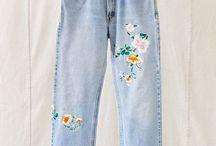 broderies fleurs jeans