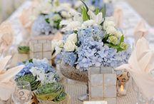 blomster og dekor / pynting av brudebord