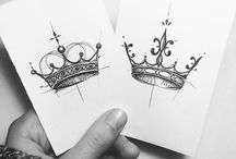 purplelady / tattoo / crown sketches