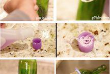 decoración con botellas de vidrio
