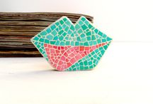 Art Objects / Polymer clay shapes and art objects with eggshell mosaic decor