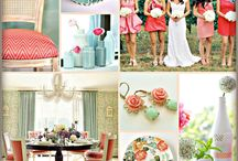 Wedding colours / Soft mint and coral colours
