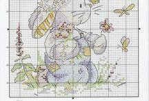 Schemi conigli cross stitch