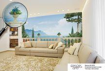 Интерьеры с фресками ОРТО / Фреска — это художественная роспись стен, одна из древних техник стенной живописи. Фрески ОРТО® сочетают в себе классические традиции и современные технологии. Долгая, кропотливая и дорогостоящая ручная роспись заменяется быстрой и доступной печатью экологически безвредными красками.