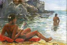 On the beach with a book / На пляже с книгой