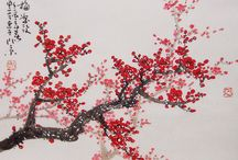 Red Cherry Blossom Painting