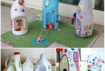 Milk jug fairy house