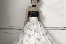 Svatební šaty - bílá/černá, šedá