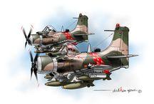 VNAF & Allies aircraft Cartoons / Cartoon drawings of VNAF and Allies aircraft.