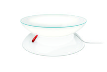 """MOREE - Table """"Lounge"""" / Whether in the living area or in the garden, as an extraordinary meeting table or in the catering industry; the different versions of Lounge offer unlimited possibilities. The use of coloured light bulbs turns Lounge into an individual lighting object. The illuminating design table that fills any environment with atmospheric light. The brightness can be changed by a dimmer control. (Ø of 84 cm)"""