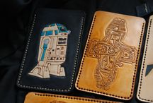 Smarphone custom leather cases  handcarved & painted
