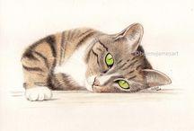 Art - My Cat Portraits / Cat portraits, original artwork