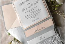 Silver peach wedding invitation