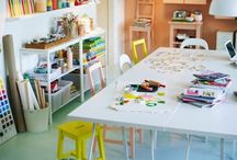 """learning spaces & kid studios / """"The classroom, in the way the environment is planned, in the materials selected for children to use, and in the work on display, makes a strong statement about what kind of activity is valued in that space."""" —Authentic Childhood"""