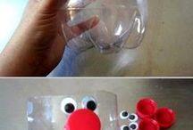 Garrafas de plástico decoradas