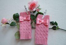 Mezzi quanti in pura lana rosa con i fiocchi-Manicotti