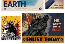 Propaganda posters into modern design.