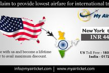 Flights from New York to India / Lowest airfare for booking flights from New York to any part of India with myairticket.com