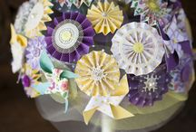 Paper flower bouquet and pinwheels / Paper flowers and pinwheels I made for our wedding - bouquet, lapel pins and decorations