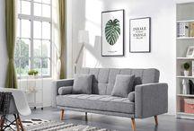 Modern Contemporary Fabric Grey Sofa Beds