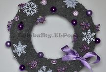 Věnce a vánoční dekorace 2015 z přízí / Wreaths and Xmas decorations for 2015 (made from yarns)