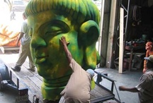 Our working warehouse / Check out our artists building and painting for Mardi Gras..