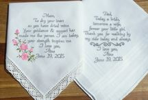 Wedding Gifts for Mom and Dad / Make your wedding extra special by getting your handkerchiefs personalized! They make wonderful gifts for the Mother & Father of the Bride & Groom. And wedding party. #WeddingGift #MomAndDad #Wedding #Embroidered #WeddingHandkerchief