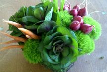 veggie & flower arrangement