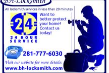 24 Hr Locksmith Services at Affordable Rates / We are Bh-locksmith Houston's Local Locksmith Company. Being locked out of your car or house can be distressing; we are committed to quick responses and efficiency.