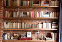 Brick bookshelves
