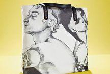 01WARDROBE Autumn/Winter 2013 - Tatoo Tote Bag / Cow Skin Leather Shoulder Straps // %100 Cotton Canvas bag / Printed bag / İllustrated bag / Tatoo Tote Bag, $69