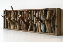 Perchero con Troncos de madera