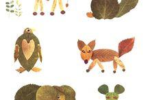 animaux feuilles arbres