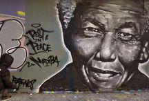 """Hommage à Nelson Mandela / """"Madiba"""" est une peinture murale à l'aérosol faite par Fortunes, en hommage à ce grand personnage qu'était Nelson Mandela, le lendemain de sa disparition. Cette oeuvre a été réalisée à Pointe-Saint-Charles, quartier populaire de Montréal au Québec par un bon -15°c. Un grand nombre d'habitants et passants ont apprécié l'initiative et certains ont été jusqu'à lâcher une larme."""