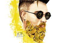 Fruit beards / Gorgeous men with beards fruit