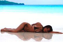 Girls in Bikinis / Girls wearing bikinis on Boracay beach Philippines.