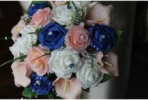 Mariage fleur saphir et rose pâle