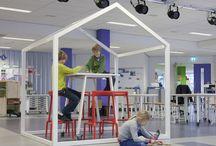 Onderwijs huisjes/ shelters / leer huisjes, concentratieplekken, shelters
