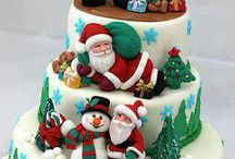 Cakes : Christmas Cakes & Topping Ideas / Beautifully decorated Christmas cakes or crafted sugar / paste decorations which have caught my eye.  Imagine being presented with a cake like some of these! I wouldn't be able to slice into them. / by Caroline Rainbird