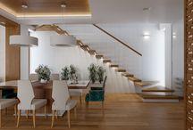 Projekt domu Stare Babice / biała kuchnia, panele ażurowe, drewno teak,