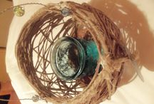 Home Decoration / Home Decoration with natural materials rock, wood, candless, rope, coral,flowers