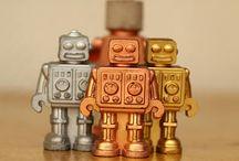 Toy Robot Retro Concrete Gift - Girt for Him-Desk accessory