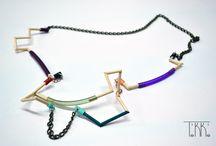 Wood Jewelry / Geometrical jewelry with wood, bronze chain and caoutchouc