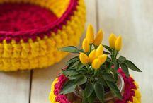 cesta fio malha para  flor