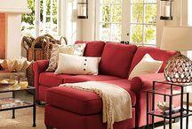 Red sofa room decor