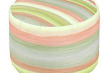 Striped Watercolor Poufs