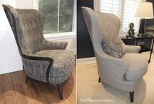 Cynthia's Grey Denim Slipcover / This slipcover is tailored to fit the Arhaus Portsmouth chair. I used Eco Chic Denim in color grey, on the reverse side. The pale two-tone grey color is a pretty alternative to solid natural denim.